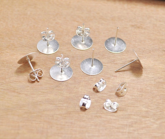 48pcs Silver Gold Brass Metal Earring Blanks Stud Cabochons Earring Findings