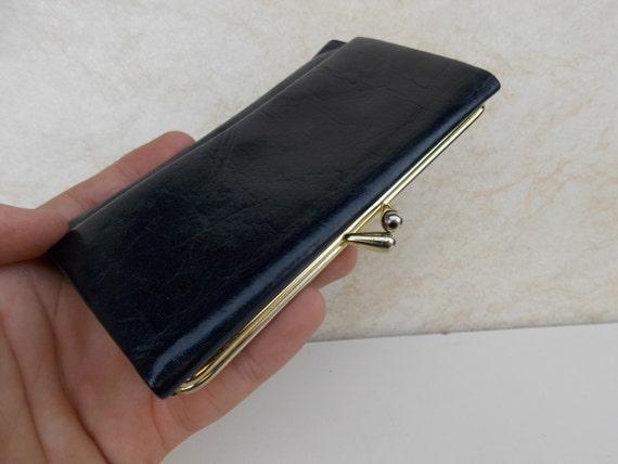 Pochette portefeuille noir / portefeuille avec porte-monnaie Vintage noir portefeuille Vintage portefeuille / Retro portefeuille / porte monnaie femme