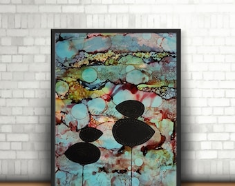 Art Alcohol Ink Abstract Painting Pebble Trees A4, Abstract Art, Modern Art, Alcohol Inks, Yupo Paper, Trees Pebbles