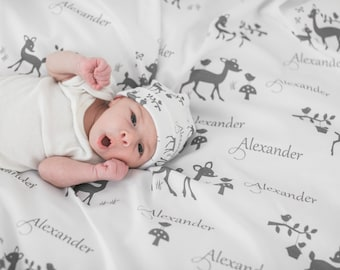 Baby Blanket - Personalized Baby Gift - Gray Nursery - Deer - Gender Neutral Baby Gift - Grey - Baby Name Blanket - Custom Swaddle - Boy