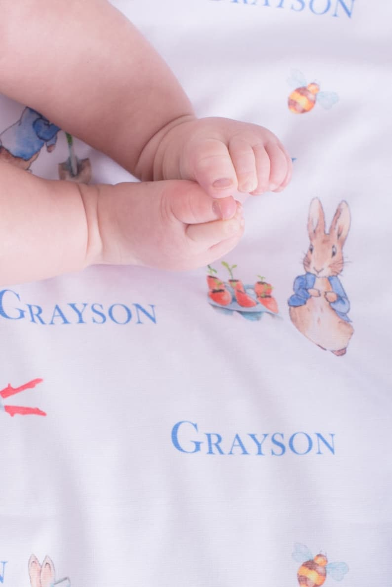 Receiving Blanket Swaddle Blanket Peter Rabbit Blue Swaddle Set Personalized Baby Blanket Spring Baby Shower Gift