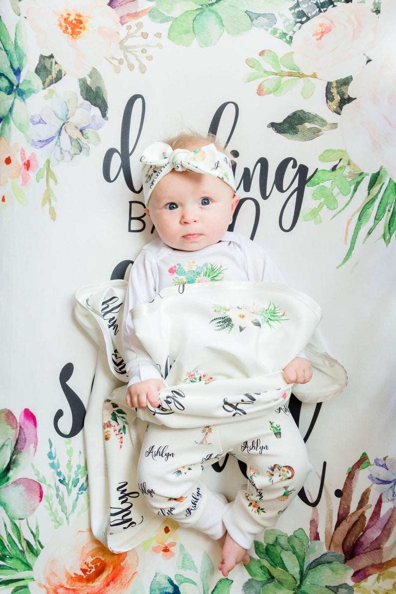 Succulent Cactus Flowers Leggings and Shirt for Babies Baby Girl Clothes Personalized Outfit for Baby or Toddler Girl