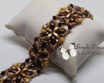 PDF tutorial, bracelet Chocolate, pattern PDF, calì beads tutorial, superduo patterns, beading pattern