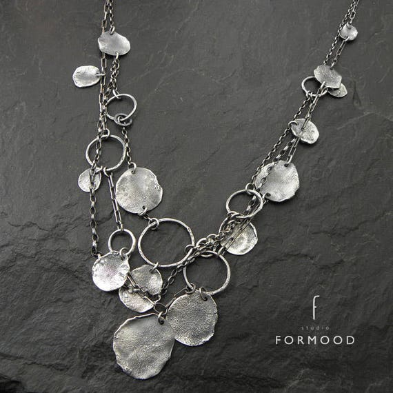 layered necklace oxidized silver delicate silver necklace raw sterling silver necklace form017 collection