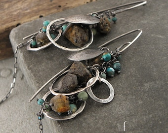 Earrings - raw baltic amber &  turquoise, oxidized sterling silver earrings - hoop, leverback, clip on or hook earwires