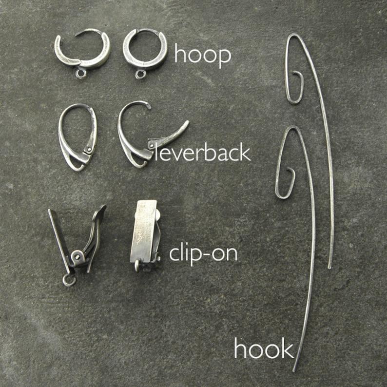 hoop clip on earwires Sterling silver and blue topaz earrings hook