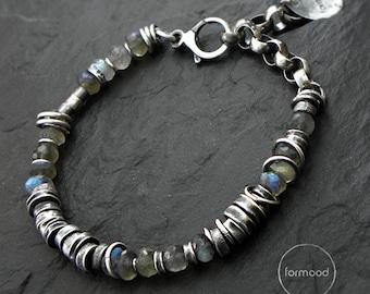 oxidized sterling silver and labradorite - bracelet
