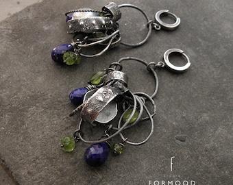Oxidized raw sterling silver and lapis lazuli & peridot - earrings