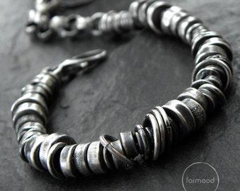 Oxidized sterling silver - bracelet, modern, unisex silver bracelet - studioformood bracelet