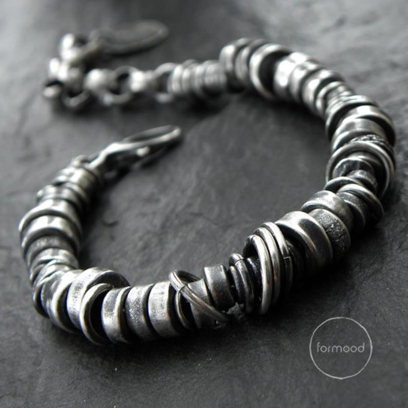 Oxidized sterling silver  bracelet modern unisex silver image 1