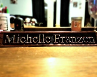 Engraved Wooden Desk Nameplate, Wooden Nameplate, Personalized Nameplate, Manager Gift, Name Plate, Birthday Gift, Christmas, Executive Gift