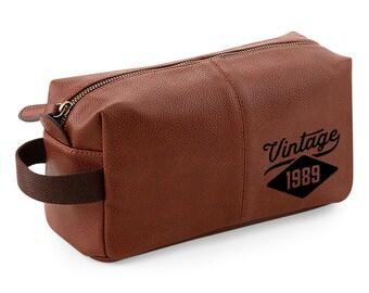 30th Birthday 1989 Vintage Wash Bag Keepsake Gift Idea 30 Years Old Dopp Kit Toiletry