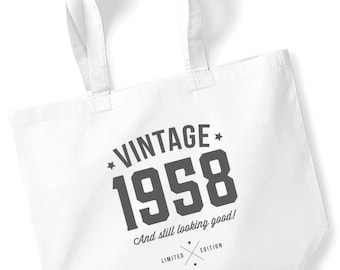 60th Birthday Idea Bag Tote Shopping Great Present Gift 1958