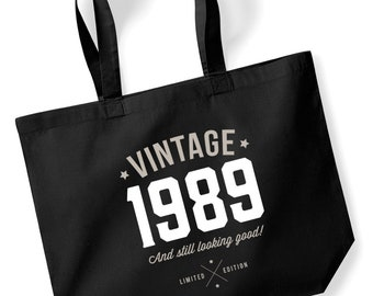 30th Birthday Idea Bag Tote Shopping Great Present Gift 1989