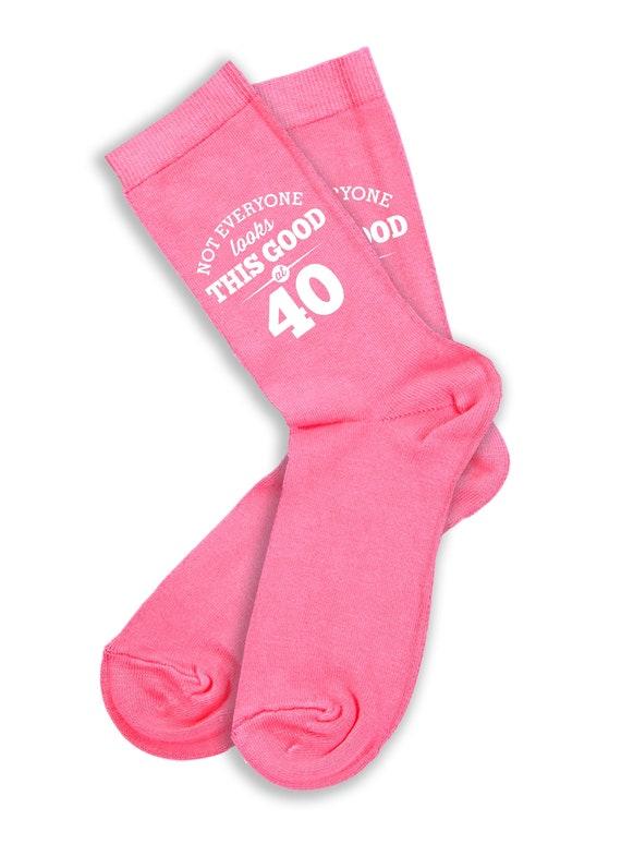 40th Birthday Gift Present Idea For Ladies Her Women 40 Pink Socks Fun Keepsake