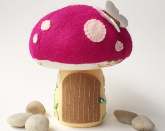 Tooth Fairy Pillow / Tooth Fairy House / Tooth Fairy Door / Tooth Fairy Pouch / Tooth Fairy Bag / Fairy Toadstool - Magenta Pink