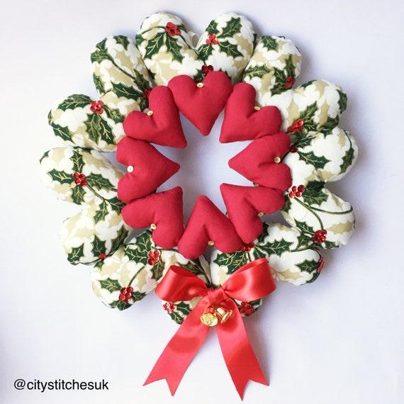 Christmas Heart Wreath.Christmas Wreath Hanging Heart Wreath Holiday Wreath Christmas Heart Christmas Decoration Fabric Hearts