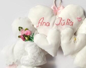 Personalised Hanging Heart Wreath / Christening Gift / New Baby Girl Gift / Heart Mandala / Stuffed Heart Wreath / Fabric Heart Wreath