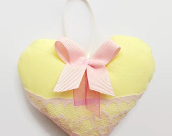 Lemon yellow shabby chic hanging heart, new baby gift, or wedding favour