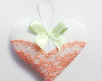 Shabby chic white hanging heart, wedding favour or baby shower decoration, valentines gift