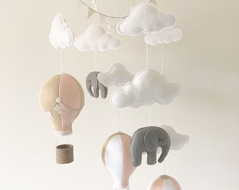 Baby Mobile / Hot Air Balloon Mobile / Crib Mobile / Elephant Wooden Mobile / Clouds Mobile / Nursery Mobile / Blush Pink, Fawn & White