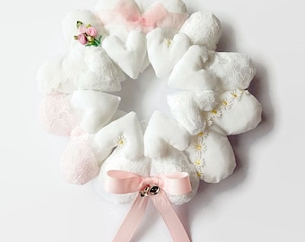 Hanging Heart Wreath / Heart Wreath / Shabby Chic Heart / Fabric Hearts / Heart Garland / Stuffed Heart / Heart Decoration / Pastel Pink