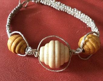 Hemp macrame bracelet with wooden beads
