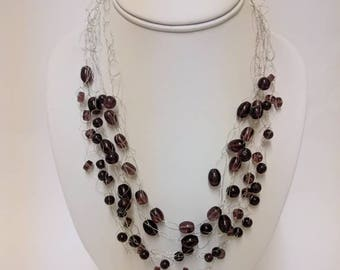 Purple glass bead wire necklace