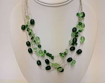 Green glass bead  wire necklace- Gold colour