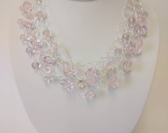 Pink glass bead wire necklace