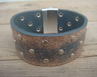 Studded Leather Cuff - Rustic Leather Cuff - Blue Leather Bracelet - Leather Cuff Bracelet - Leather Jewelry - Distressed Leather Bracelet