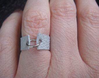 Leather Ring - Boho Ring - Pale Grey Leather Ring - White Leather Ring - Leather Band - Minimalist Jewelry - Unisex