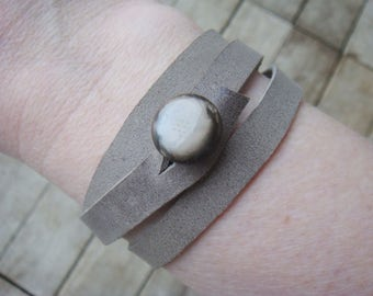 Grey Leather Cuff - Boho Cuff - Leather Cuff - Leather Wrap Cuff - Leather Wrap Bracelet - Leather Jewelry - Boho Jewelry