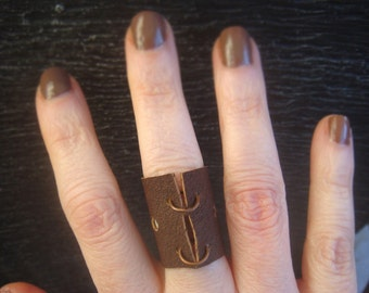Leather Ring - Boho Ring - Distressed Leather Ring - Brown Leather Ring - Leather Band - Minimalist Jewelry - Unisex