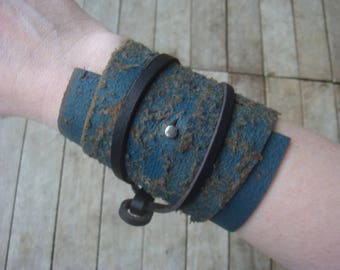 Leather Wrap Cuff - Distressed Leather Cuff - Rustic Leather Cuff - Blue Leather Cuff - Post Apocalypse - Wastland Cuff