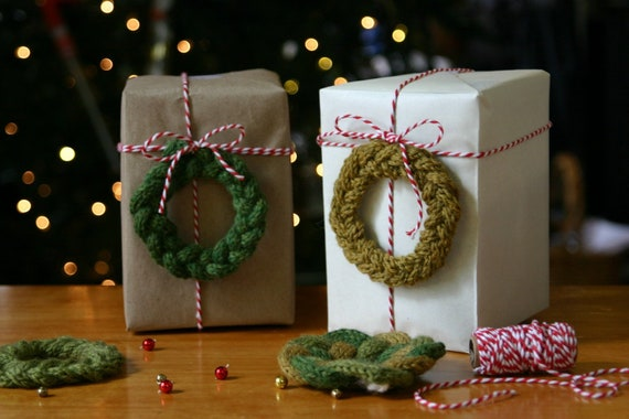 Knit Ornament Pattern Holiday Christmas Wreath Quick Etsy
