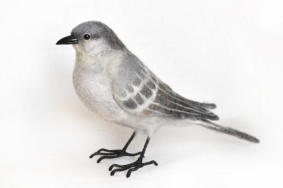 northern mockingbird felting realistic toy the state bird etsy