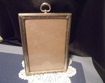 Vintage Goldtone Metal Standing Single Picture Frame~5 in. x 7 in. w/TopHook