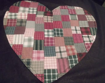 Heart Shaped Patchwork Table Topper Mat~~Country Cottage Prim Rustic Chic