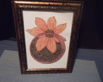 Colored Pencil Framed Art 8-1/4 in. x 6-3/8 in. Peachy Coral & Olive Floral~Hang or Stand