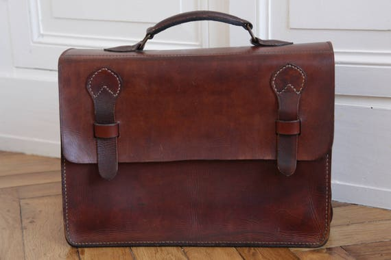 French Vintage Handmade Leather Satchel