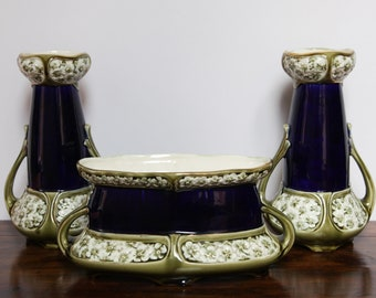 Ensemble of three French Vintage Vases Barbotine from De Bruyen - early 20th century