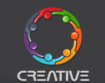 Business Logo to Print or Web. People Creative Circle, Logo Template, PNG and PDF 300 DPI High Resolution