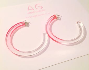Ombre Pink and Clear Hoop Earrings - Bold Laser Cut Hand Dyed Dip Dyed Gradient Acrylic Perspex Geometric Earrings