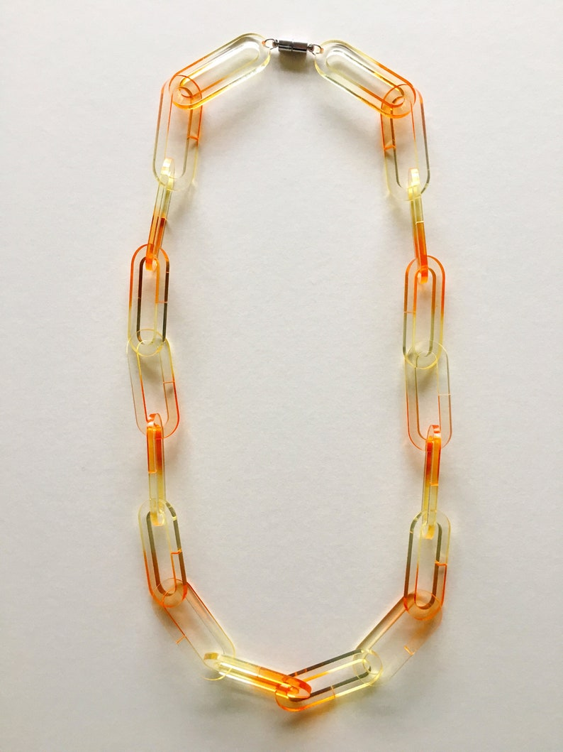 Chroma Chain Link Necklace Chunky Laser Cut Acrylic Plastic Statement Necklace Hand Dyed Gradient Dip Dye