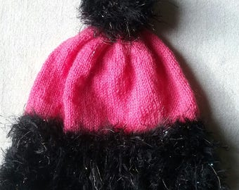 Hat, knitted hat, woolly hat, beanie, bobble hat, pom pom, Pink and black fluffy sparkle. Ready to ship