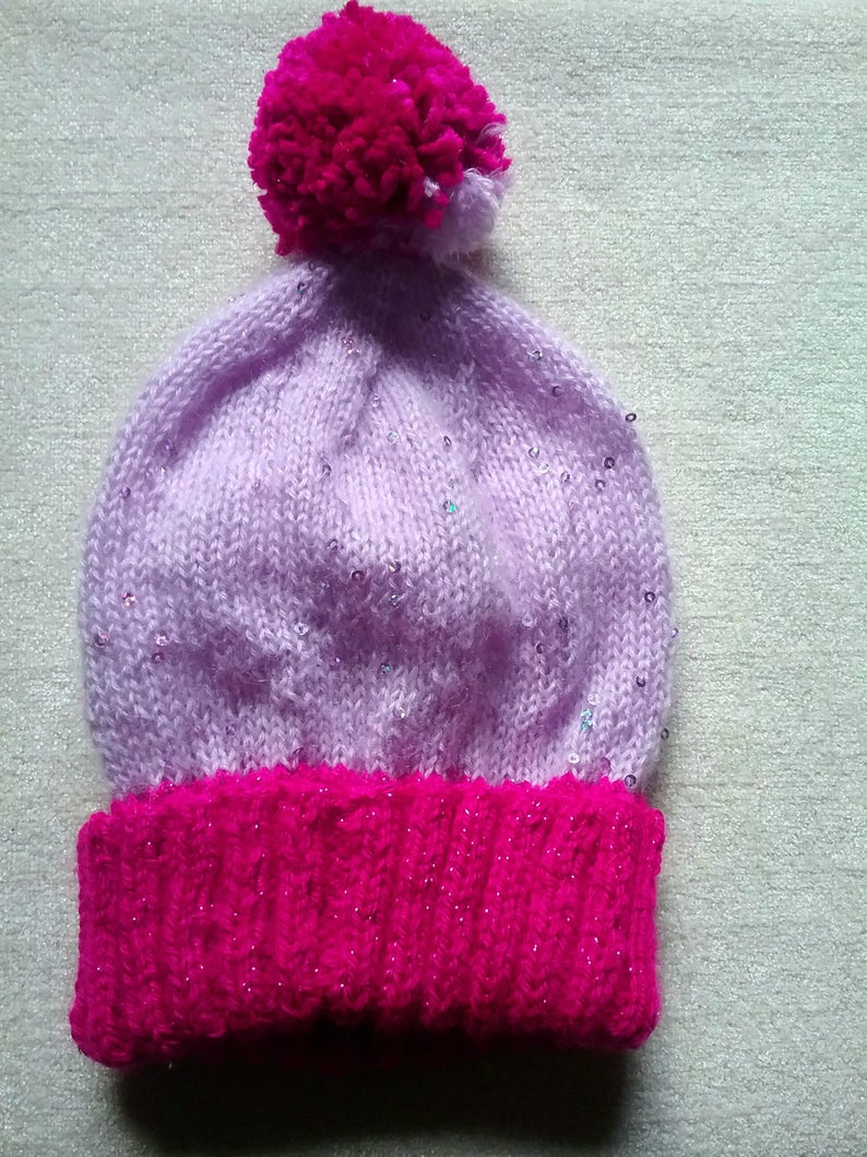 0641452f4ea Pink and lilac sparkle hat knitted hat woolly hat beanie