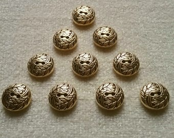 10 x GOLD effect buttons leaf swirl pattern 2-hole 15mm jewellery steampunk
