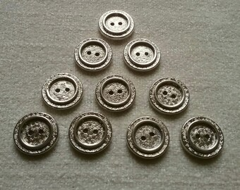 10 x Silver effect rimmed Buttons 2-hole 23mm steampunk jewellery