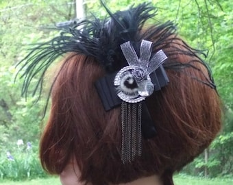 Black Headband With Feathers & Chains